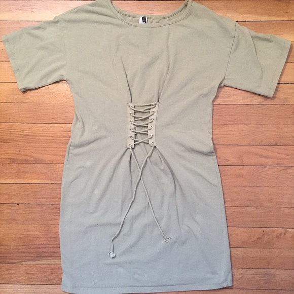 Dresses   Skirts - K Too Faux Corset T Shirt Dress Sz L Olive Womens aae2b24437